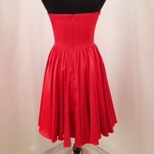 Red, Full Skirt, Strapless Dress